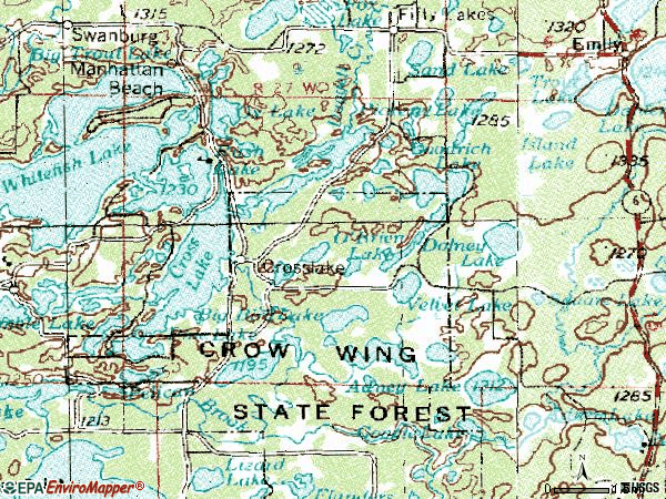 Zip code 56442 topographic map