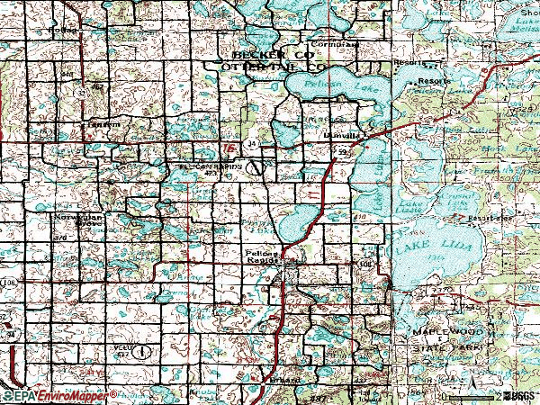 Zip code 56572 topographic map