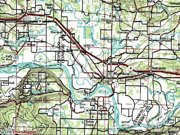 Zip code 72110 topographic map