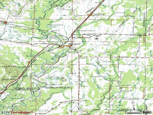 Zip code 72112 topographic map