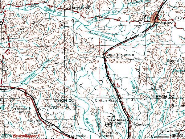 Zip code 38610 topographic map