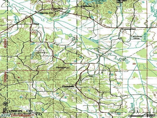 Zip code 38627 topographic map