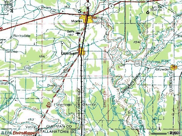Zip code 38643 topographic map