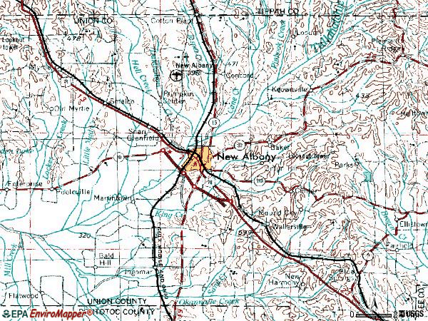 Zip code 38652 topographic map