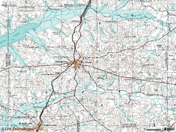 Zip code 38655 topographic map