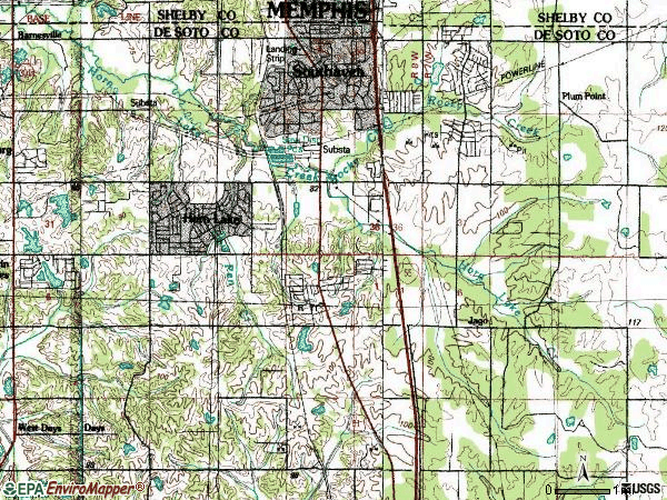 Zip code 38671 topographic map