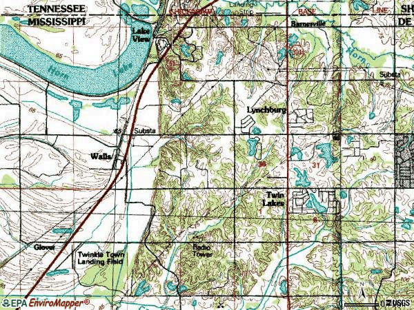 Zip code 38680 topographic map
