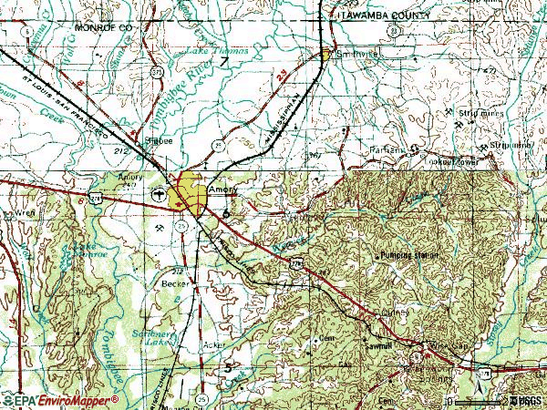 Zip code 38821 topographic map