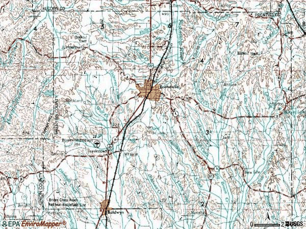 Zip code 38829 topographic map