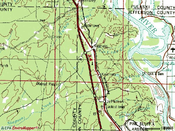 Zip code 72132 topographic map