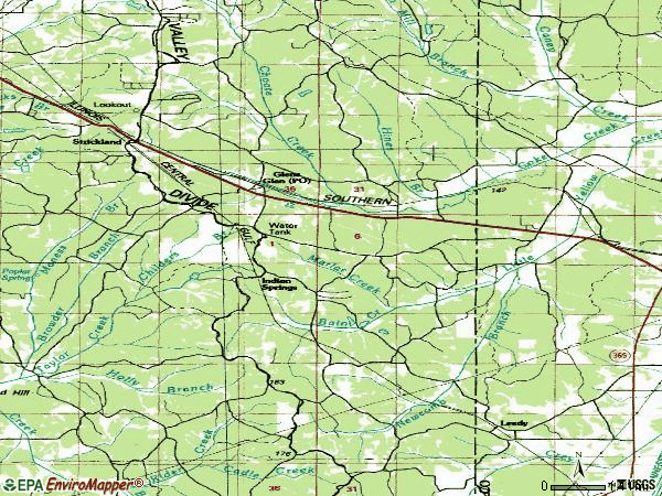 Zip code 38846 topographic map