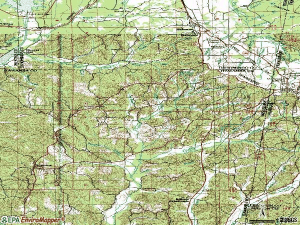 Zip code 38847 topographic map