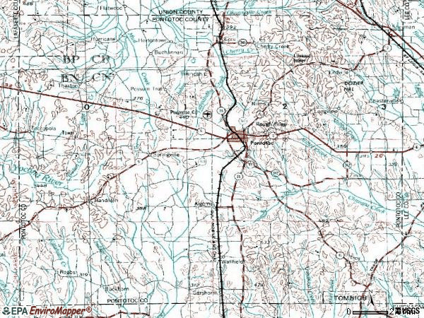 Zip code 38863 topographic map