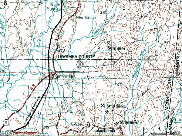 Zip code 38870 topographic map