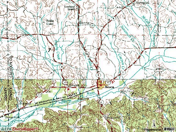 Zip code 38915 topographic map