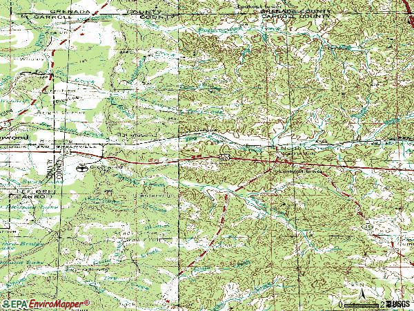 Zip code 38917 topographic map