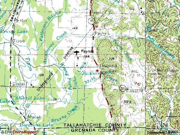 Zip code 38920 topographic map