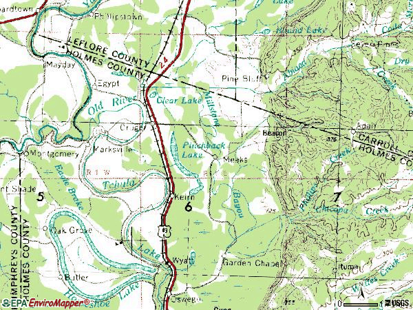Zip code 38924 topographic map