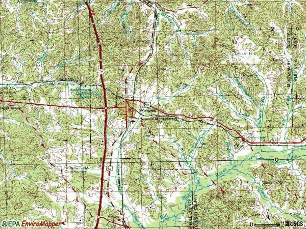 Zip code 38967 topographic map