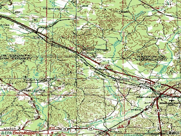 Zip code 39044 topographic map
