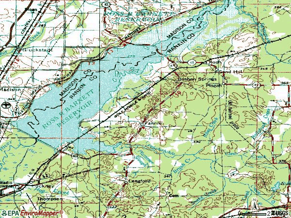 Zip code 39047 topographic map