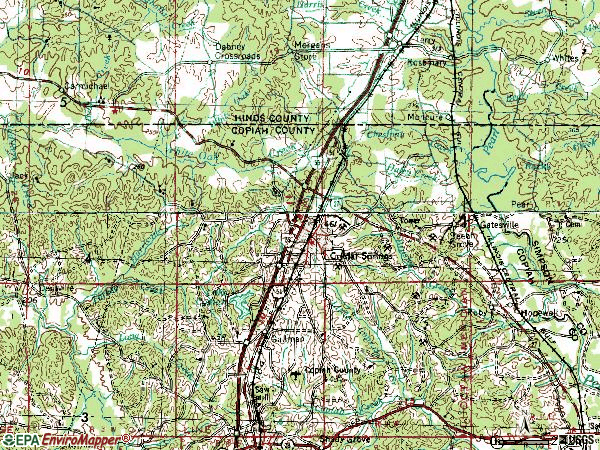 Zip code 39059 topographic map