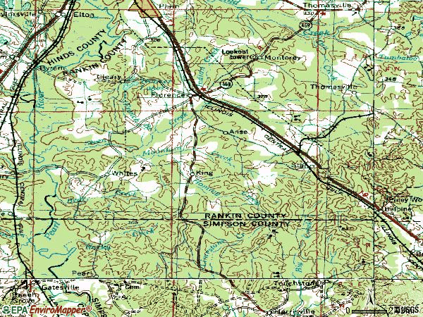 Zip code 39073 topographic map