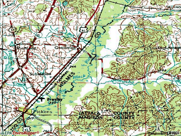 Zip code 39079 topographic map