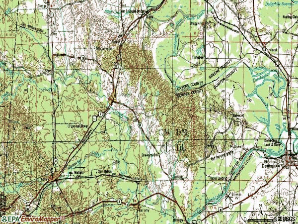 Zip code 35470 topographic map