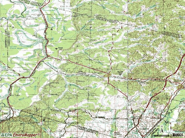 Zip code 39095 topographic map