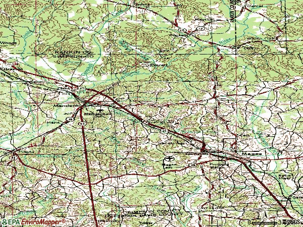 Zip code 39114 topographic map