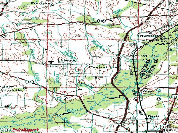 Zip code 39179 topographic map