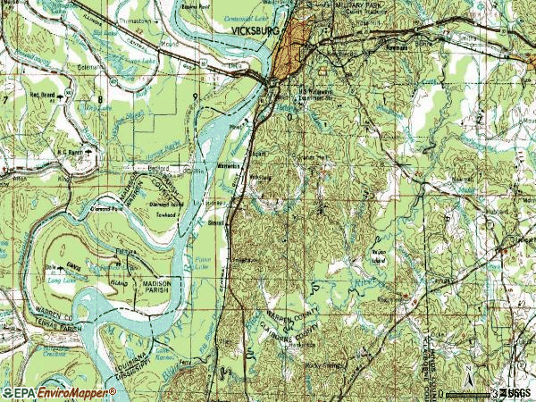 Zip code 39180 topographic map