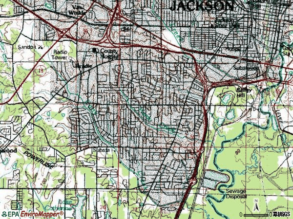 Zip code 39204 topographic map