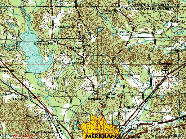 Zip code 39305 topographic map