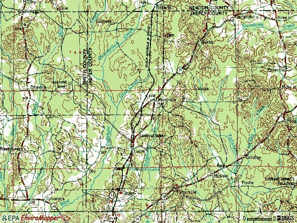 Zip code 39338 topographic map