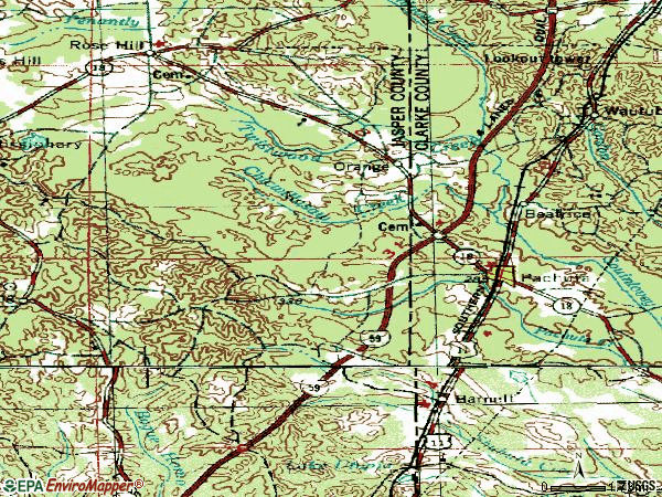 Zip code 39347 topographic map