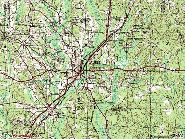 Zip code 39443 topographic map