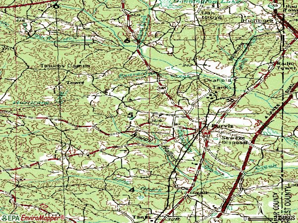 Zip code 39475 topographic map
