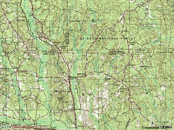 Zip code 39476 topographic map