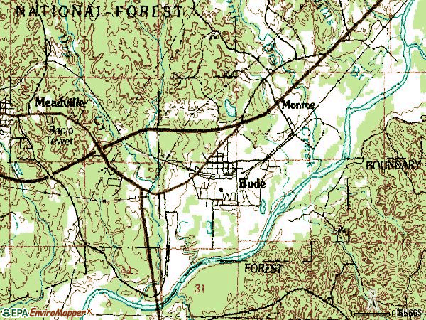Zip code 39630 topographic map