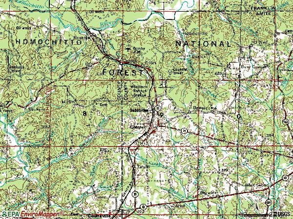 Zip code 39638 topographic map
