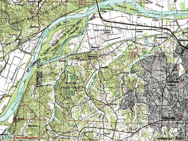 Zip code 63005 topographic map