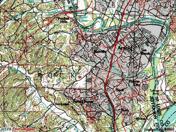 Zip code 63010 topographic map
