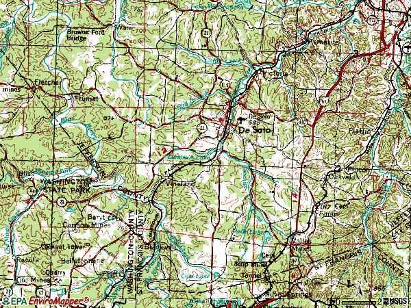 Zip code 63020 topographic map