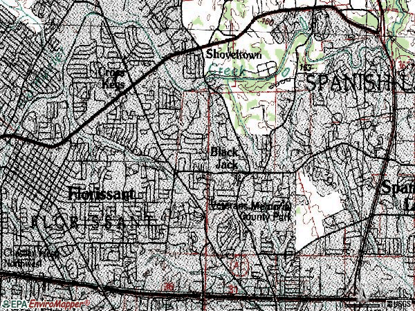 Zip code 63033 topographic map