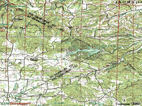 Zip code 63036 topographic map