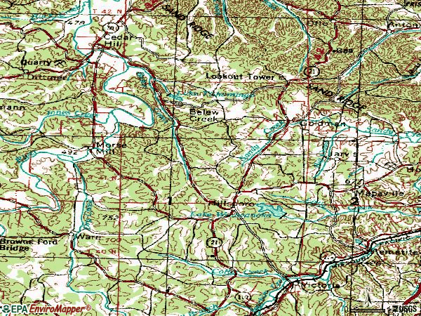 Zip code 63050 topographic map