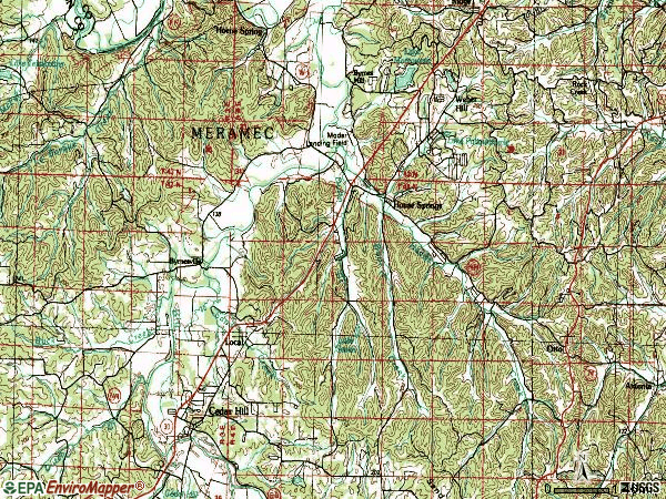 Zip code 63051 topographic map