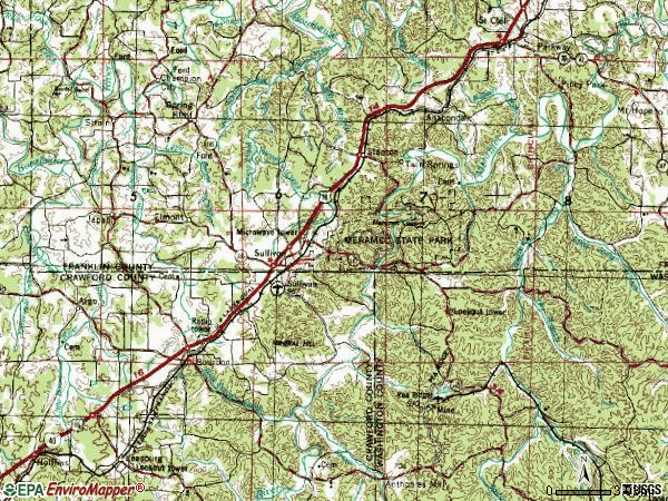 Zip code 63080 topographic map